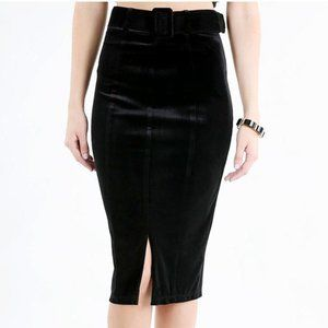 Velvet Vixen High Waist Pencil Skirt in Black Goth